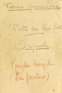 Cubierta del original que García Lorca entregó a Bergamín