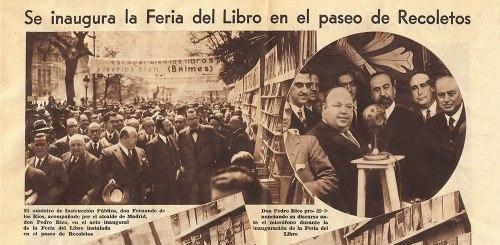Primera Feria del Libro de Madrid, 1933 (Paseo de Recoletos)